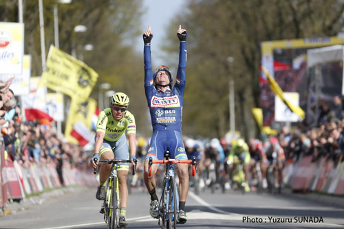 17 April 2016 51st Amstel Gold Race 1st : GASPAROTTO Enrico (ITA) Wanty - Groupe Gobert 2nd : VALGREN ANDERSEN Michael (DEN) Tinkoff Photo : Yuzuru SUNADA